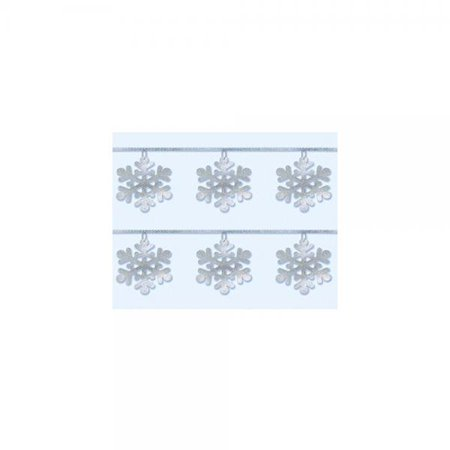 Amscan Winter Wonderland Christmas Party Snowflake Sequin Ring Garland Decoration, 9', Silver