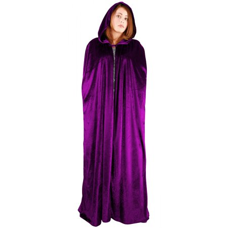 Full Length Velvet Hooded Cape/Cloak Adult Costume Fuchsia