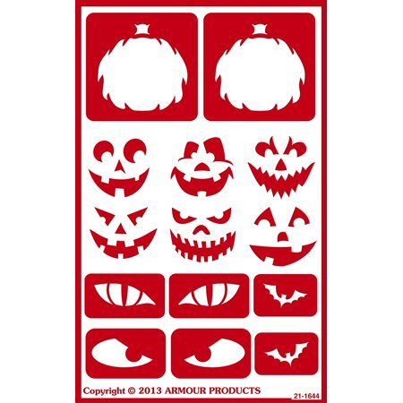 Armour Products Over N Over Glass Etchg Stencil 5 X 8 Halloween Faces - Giants Halloween Stencil