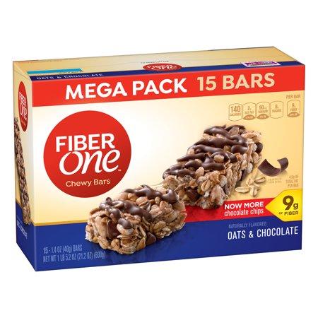 (Fiber One Chewy Bar, Oats and Chocolate, 15 Fiber Bars Mega Pack, 5.2 oz)