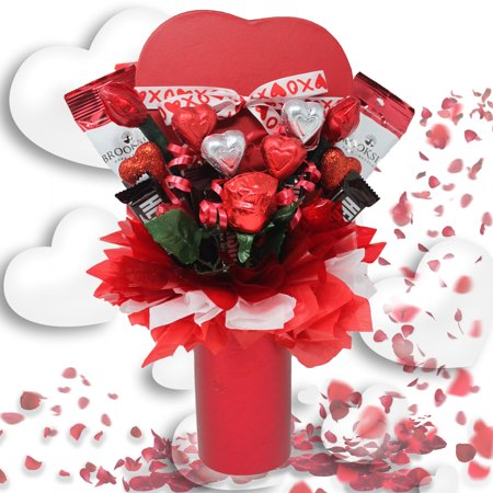 Love and Romance Chocolate Candy Bouquet | Unique Gift for the Hard to Buy For | Gourmet Assorted Chocolates, Roses and Kisses, Heart Shaped Box Filled with Premium Chocolates