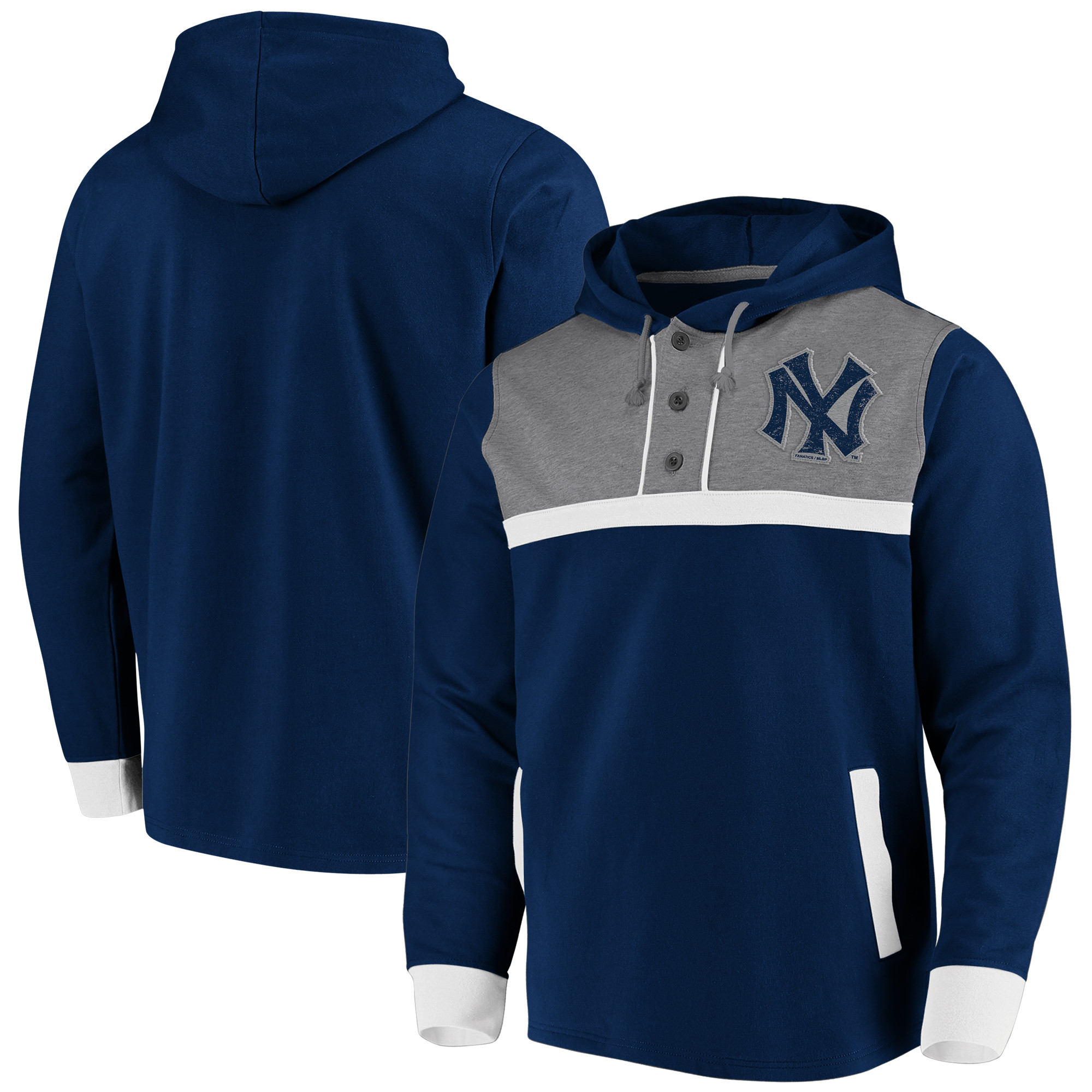 New York Yankees Fanatics Branded True Classics Button-Up Henley Pullover Hoodie - Navy/Heathered Gray