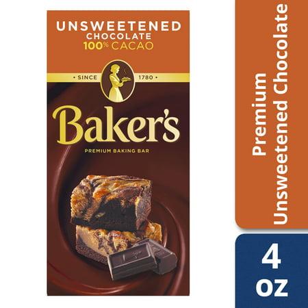 Bakers Unsweetened 100 Cacao Baking Chocolate Bar 4 Oz Box