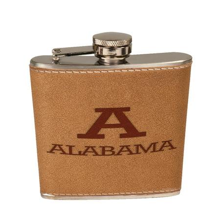 KuzmarK 6 oz. Leather Pocket Hip Liquor Flask - Alabama Alabama 6 Ounce Pocket Flask