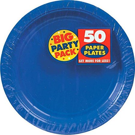 Reusable Party Forks Premium Heavy Weight Tableware, Bright Royal Blue, Plastic, Full Size, Pack of 48 with Big Party Pack Paper Dinner Plates 9-Inch, 50/Pkg, Bright Royal