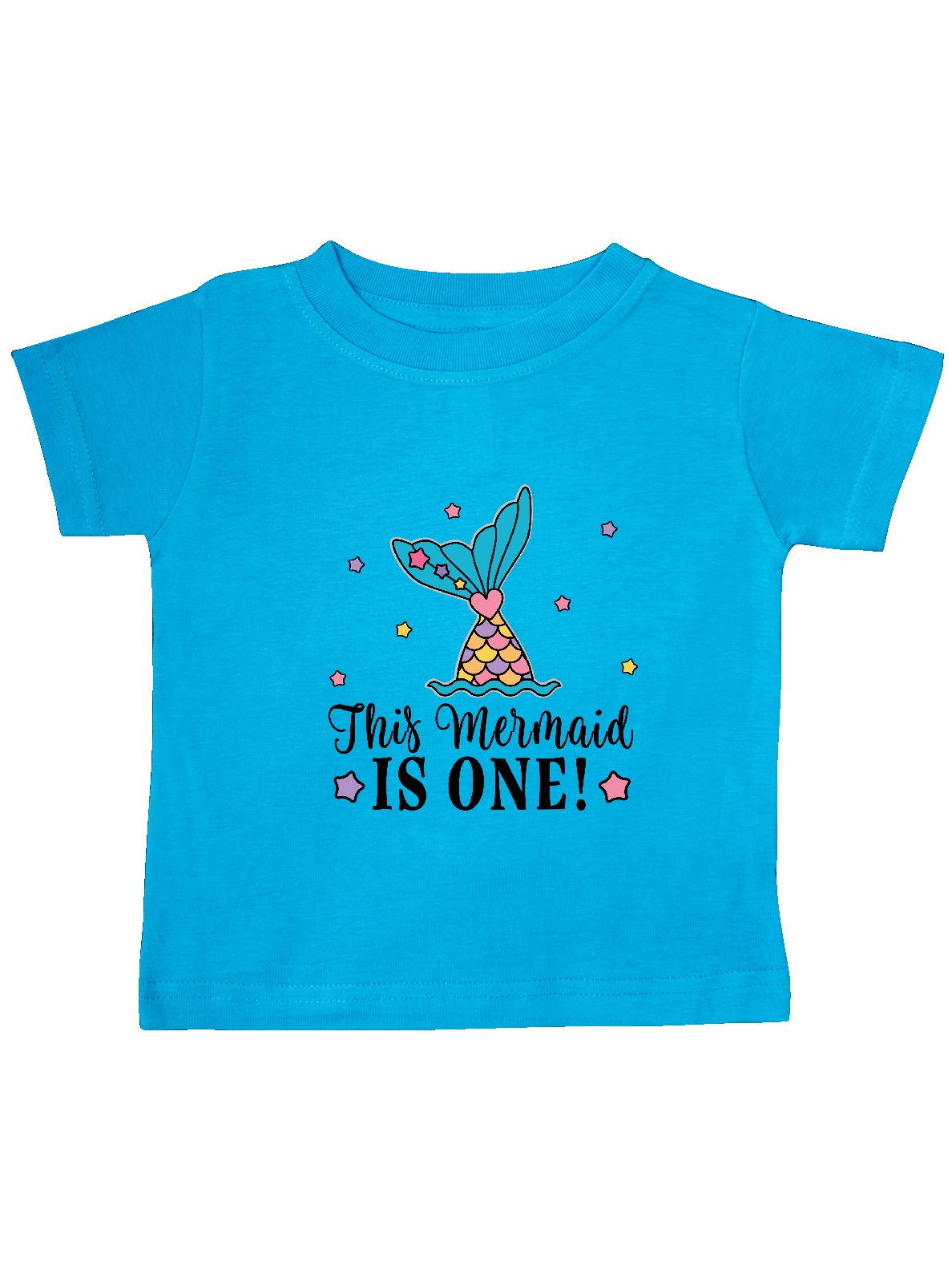 inktastic First Birthday Mermaid with Fish and Baby T-Shirt 6 Months Pink 36606