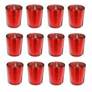 12x Red 2.6''Height Mercury Glass Votive Candle Holder Candlestick For Home Weddings, Party Decorative