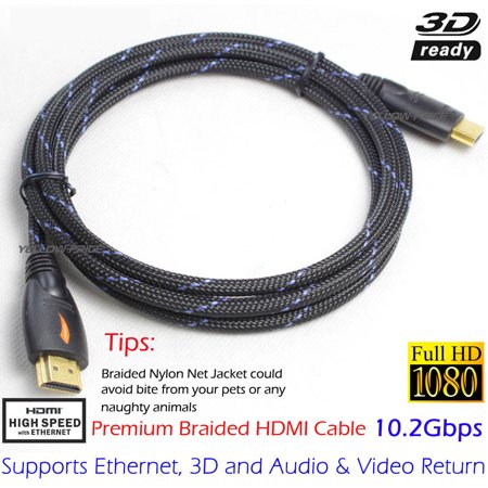 LIVEDITOR Braided 6FT Advanced High Speed GOLD HDMI Cable V1.4 Audio Video - image 6 de 6