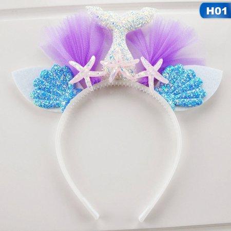 SHIYAO Glitter Mermaid Headband for  Girl Birthday  Mermaid Tail Tulle Head Band Under The Sea Party Headwear Head Tail Bands