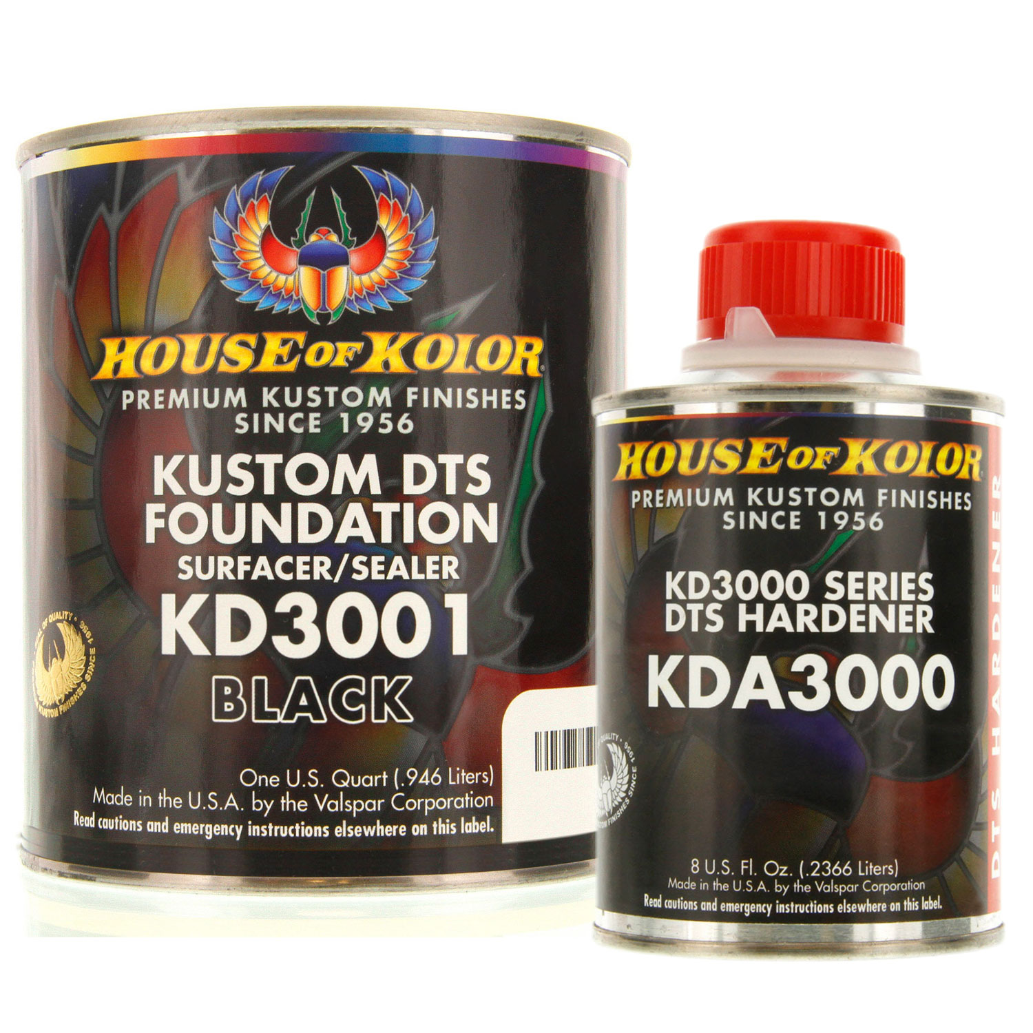 House of Kolor QUART KIT BLACK Color KD3001 DTS Surfacer / Sealer w/ Hardener