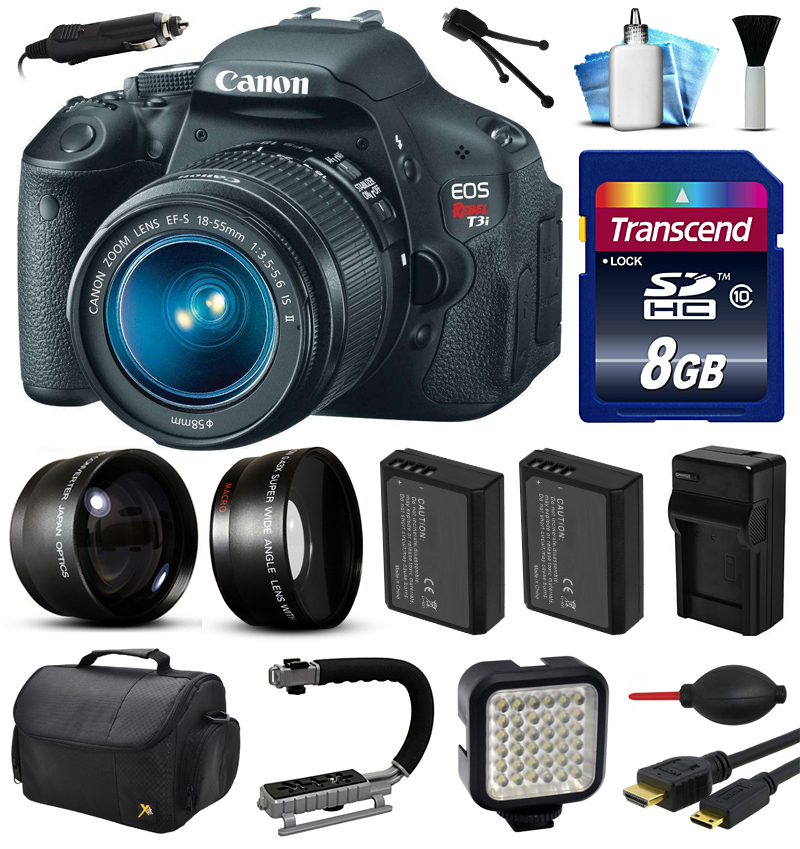 Canon EOS Rebel T3i 600D Digital Camera w/ 18-55mm Lens (8GB Essential Bundle)