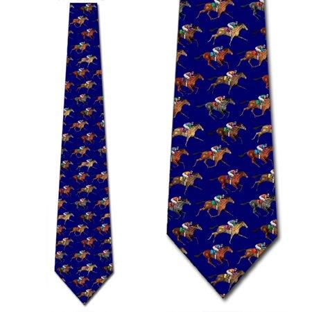 Horse Racing Ties Mens Horse Royal Blue Jockey Necktie by Three Rooker