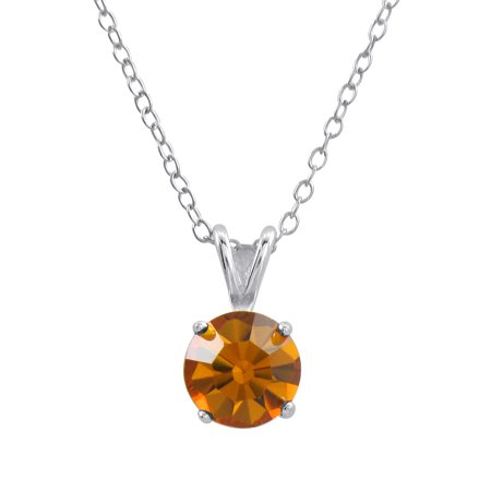 Sterling Silver Basket Set 8Mm Crystal Birthstone Pendant Necklace November   Topaz