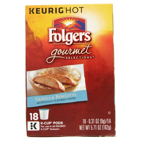 Best Folgers Gourmet Selections Vanilla Biscotti Coffee, 0.31 oz, 18 count deal