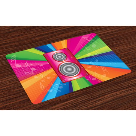 Vintage Rainbow Placemats Set of 4 Discotheque Pop Party of the 60s 70s Theme Musical Notes and Pink Stereo, Washable Fabric Place Mats for Dining Room Kitchen Table Decor,Multicolor, by Ambesonne (Themes Of The 70s)