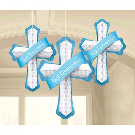 Religious 'First Communion' Blue Honeycomb Decorations (3pc)