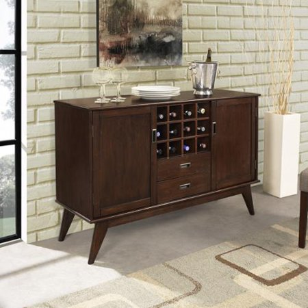 WyndenHall  Tierney Solid Hardwood 54 inch wide Mid Century Modern Sideboard Buffet and Wine Rack