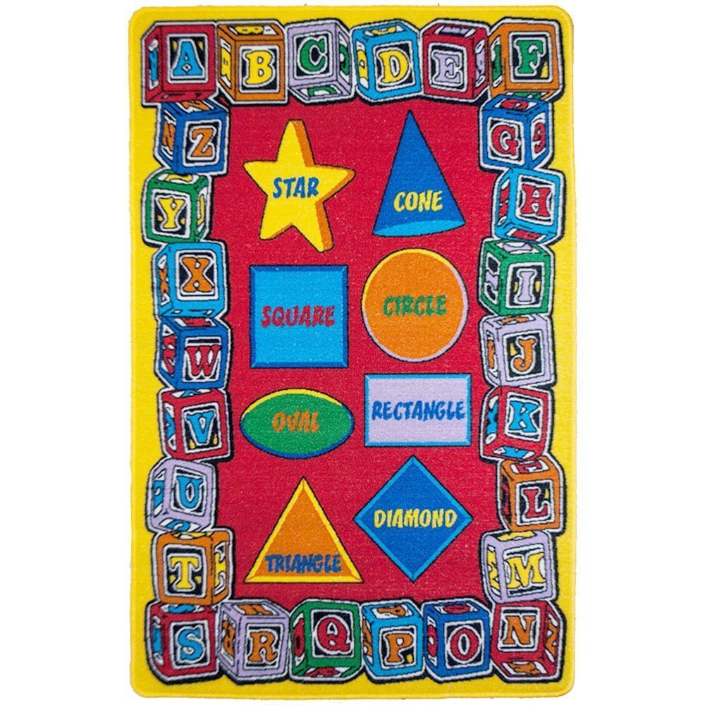 "Kids Rug Alphabet Shapes 3' X 5' ABC Learning Carpet (39"" x 56"")"