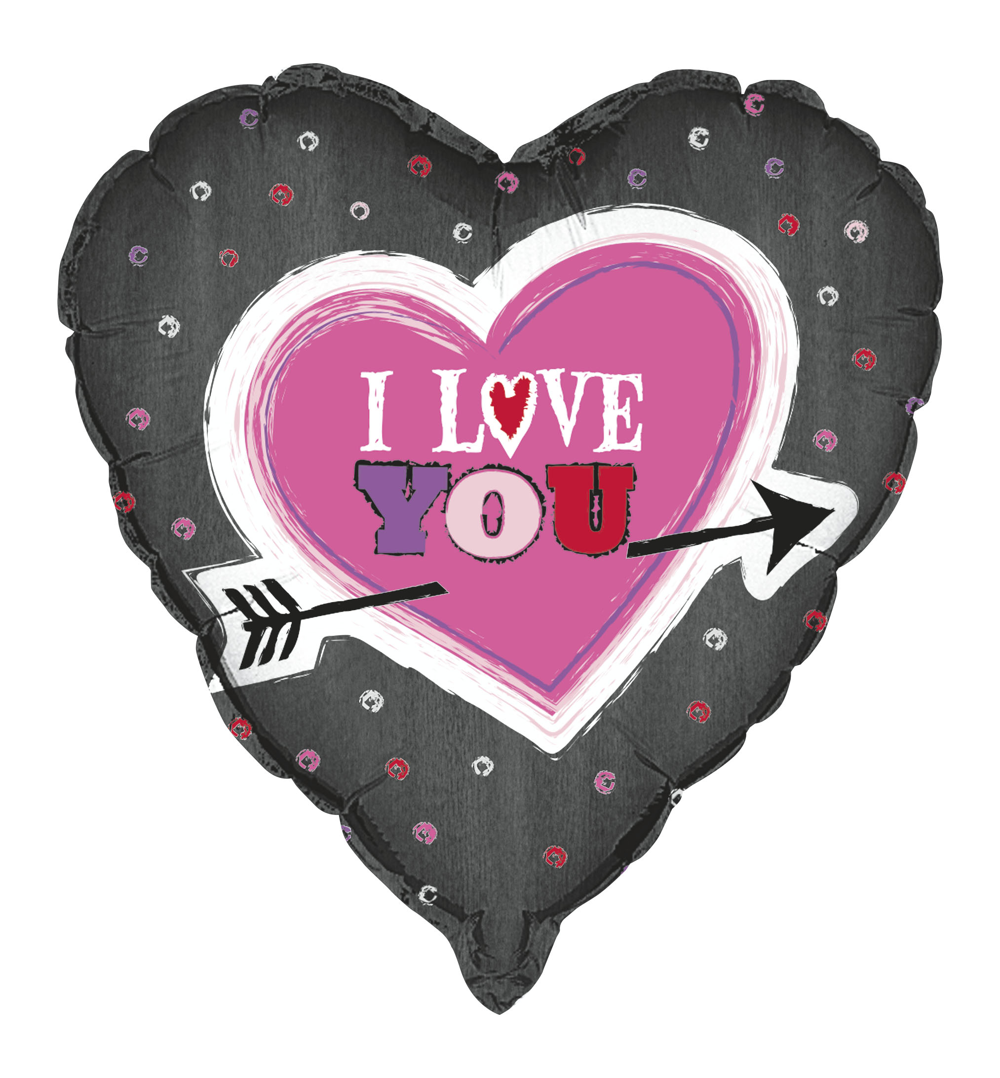 "Unique Valentine's Day I Love You Arrow Heart 18"" Foil Balloon, Black Pink"