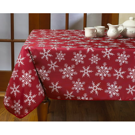 Decorative Christmas Snowflakes Design Red Tablecloths - Christmas Table Cloth
