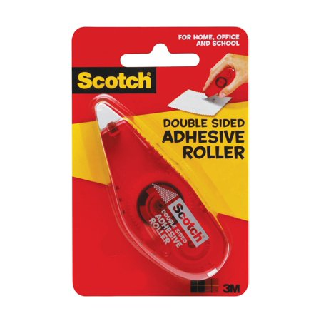 Scotch Double Sided Adhesive Roller, .27 x 26 ft, Red