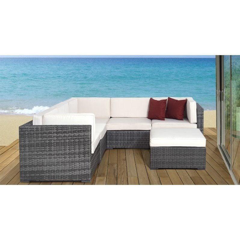 Bellagio 6-Piece Grey Wicker Seating Set w/Off-White Cushions