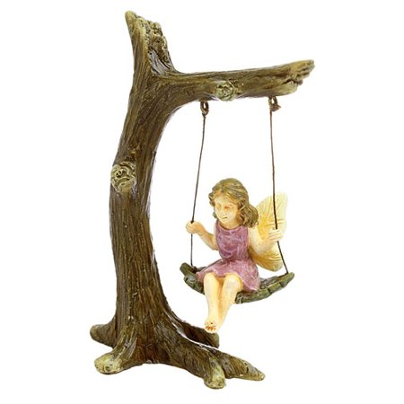 Fairy In A Tree Swing Miniature Fairy Garden Decor