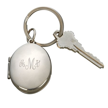 Personalized Monogrammed Oval Locket Key Chain, Nickel Plated