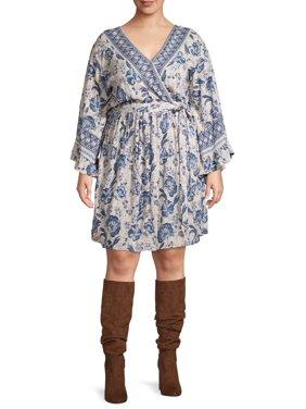 Romantic Gypsy Women's Plus Size Faux Wrap Front Dress