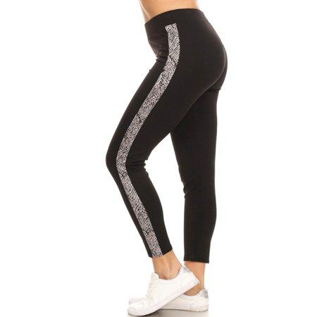 MOA COLLECTION Women's Animal Pattern Side Stripe Contrast High Waist Legging Pants Woven Contrast Side Stripes