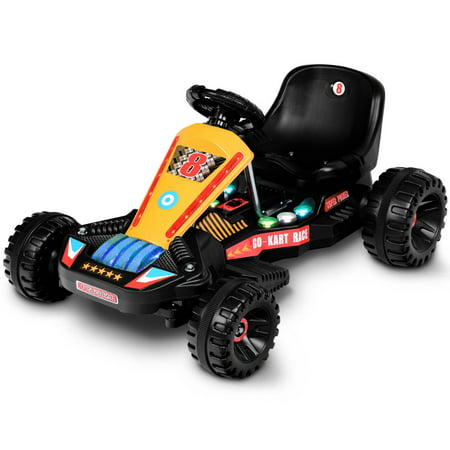 Goplus Electric Powered Go Kart Kids Ride On Car 4 Wheel Racer Buggy Toy Outdoor