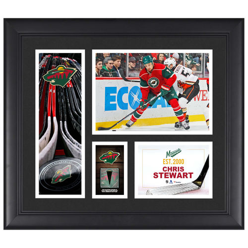 "Chris Stewart Minnesota Wild Framed 15"" x 17"" Player Collage with a Piece of Game-Used Puck - No Size"