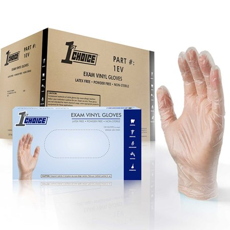 1st Choice Vinyl Latex Free Medical Disposable Gloves, Large, Clear,