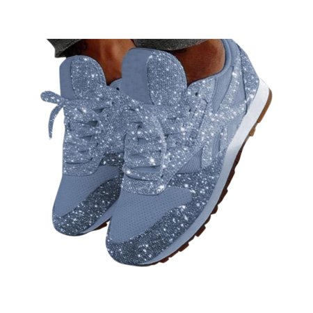 Women's Lace Up Sequins Sneakers Casual Breathable Flats Jogging Sports Shoes Athletic Shoes For Flat Feet