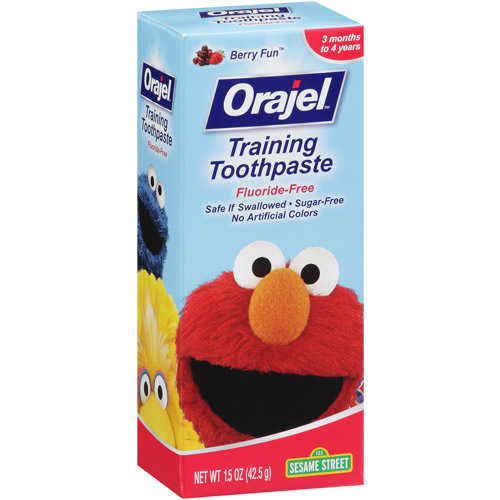 Orajel Fluoride-Free Sesame Street Training Toothpaste Berry Fun, 1.5 OZ