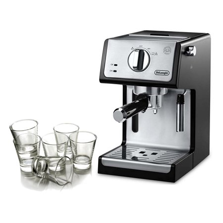 Delonghi Black 15 Bar Pump Combination Espresso and Cappuccino Machine with Free Set of 6 Italian Espresso Shot