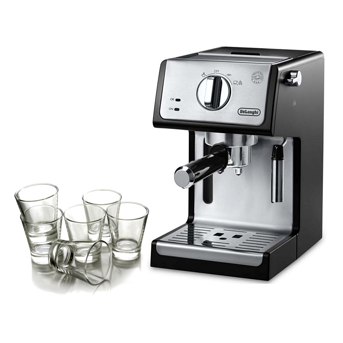 Delonghi Black 15 Bar Pump Combination Espresso and Cappuccino Machine with Free Set of 6 Italian Espresso Shot Glasses