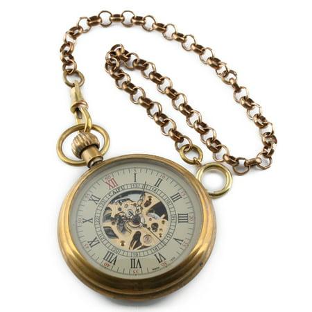 Hand-winding Brass Mechanical Pocket Watch Mens Golden Classic  Chain Gift