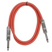 """Seismic Audio  - Red 1/4"""" TS 3' Patch Cable - Effects - Guitar - Instrument Red - SASTSX-3Red"""