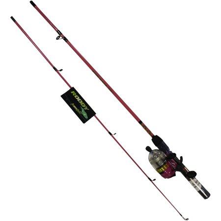 Fly Fishing Pole Set, Pink 5ft 6in Spincast Men Women Reel Fish Pole (Fish Pole)