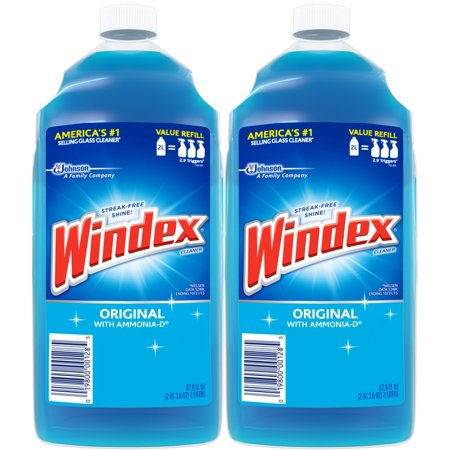 Pellet Stove Glass Cleaner ((2 Pack) Windex Glass Cleaner Refill, Original Blue, 2 L)