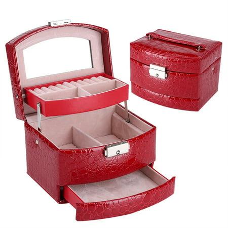 Moksha Portable Jewelry Box Storage Case Multi-Layer Ring Earring Necklace Mirror Organizer Box Case