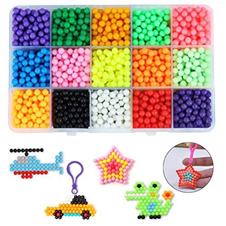 2400Pcs 15 Color Fuse Beads Water Sticky Aqua Refill DIY Art Crafts + Case Kids Children Christmas Gift Toys - Easy Kids Christmas Crafts