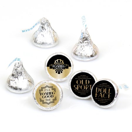 Roaring 20's - 1920s Art Deco Jazz Party Round Candy Sticker Favors - Labels Fit Hershey's Kisses (1 sheet of 108) - Roaring 20s Party Decorations