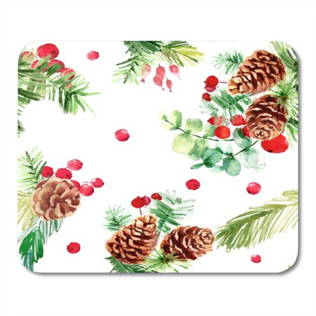 JSDART Christmas from Holly Berries and Pine Branches Cones Watercolor Painting Mousepad Mouse Pad Mouse Mat 9x10 inch - image 1 de 1