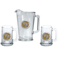 Wake Forest University Pitcher and 2 Stein Glass Set Beer Set