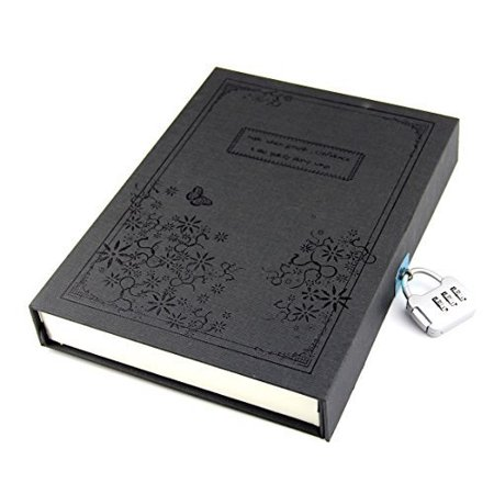 Master Coded Notebook Lock - vintage balck diary notebook journal notepad hard cover with code lock gift box black