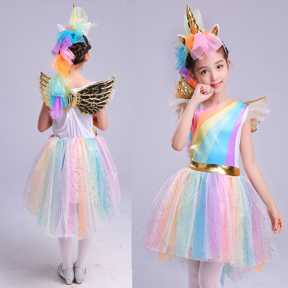 af498f739dad Unique Girls  Deluxe Rainbow Unicorn Costume Halloween Everyday ...