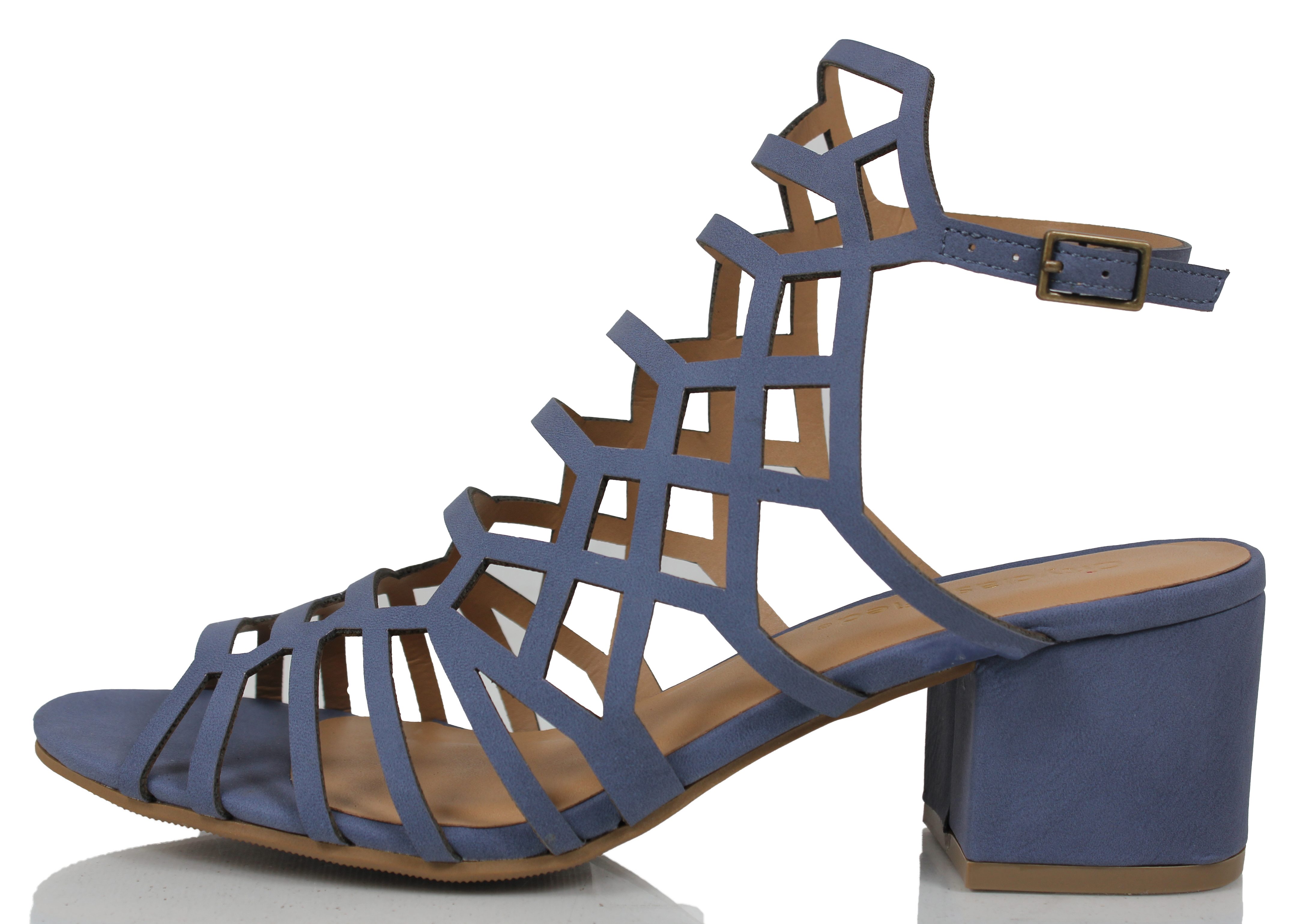 f53a17aafd6 CC by City Classified - City Classified Women s Open Toe Strappy Cutout  Ankle Strap Chunky Mid Heel Sandal (Blue