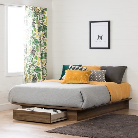 South Shore Full/Queen Holland Platform Bed with Drawer, Natural